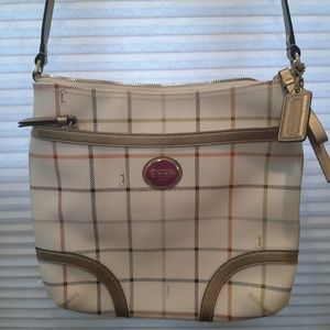 COACH MULTICOLOR PLAID TATTERSALL PRINT/GOLD HB